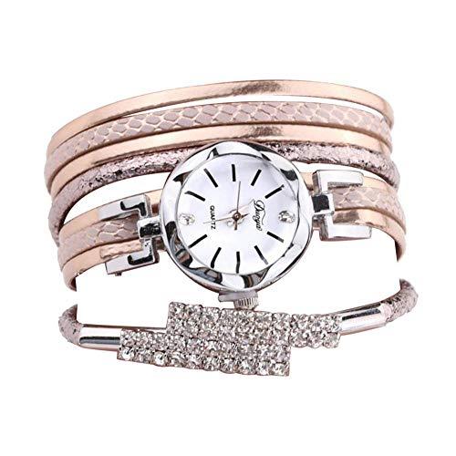 Anpassung Gehäuse (Mädchen Lady Quarzuhr, Zifferblatt Diamant Legierung Gehäuse Schlangengehäuse PU Armband Exquise Kleid Dekoration Armbanduhr)