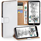 moex LG G2 | Hülle Weiß mit Karten-Fach 360° Book Klapp-Hülle Handytasche Kunst-Leder Handyhülle für LG G2 Case Flip Cover Schutzhülle Tasche