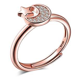 Yumilok Roségold 925 Sterling Silber Zirkonia Mond Stern Offener Ring Jahrestag Verlobungsring für Damen Mädchen, Größe 49-57 Verstellbar