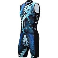 logas Herren Triathlon Suit Radfahren Skinsuit Ärmellos Radtrikot 3 Taschen Atmungsaktiv Triathlon Set Quick-Dry