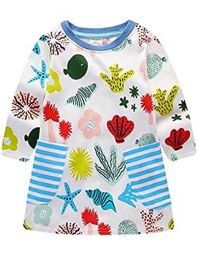 Qtake Fashion Mädchen Baumwolle Langarm Blume T-shirt Kleid Streifen Kleider 1-6 Jahre