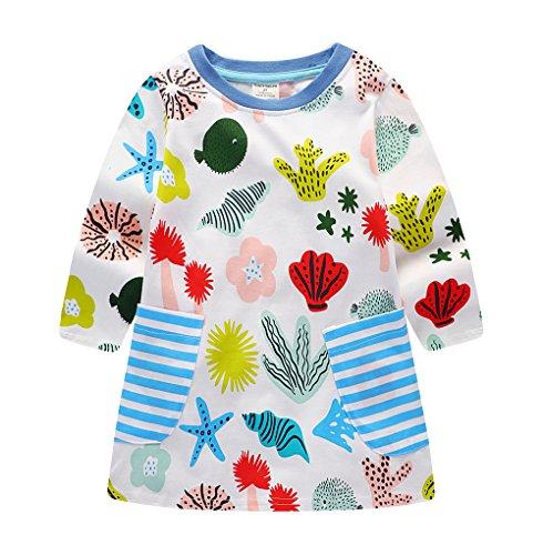 Qtake Fashion Mädchen Baumwolle Langarm Blume T-shirt Kleid Streifen Kleider 1-6 Jahre (Mädchen T-shirt Besser)