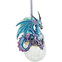Design Toscano Christmas Tree Ornaments - Frost the Gothic Dragon Holiday Ornament - Snowflake Dragon Ball Ornament - Christmas Decorations