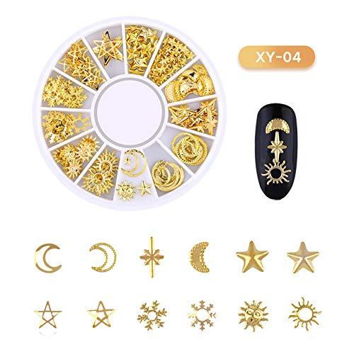 Yibenwanligod Creative Metal 3D Moon Star Love Heart Flower Nail Decorations Patch Jewelry-4#
