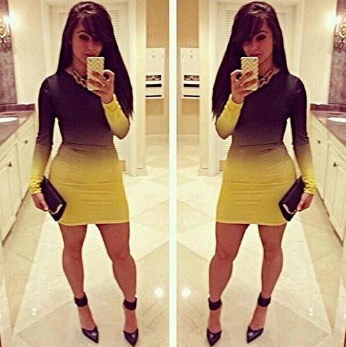 Womens reizvolles Steigung-Drucken-langes Hülse Bodycon dünnes Verein-Kleid Gelb