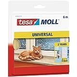 tesa moll Universele schuimrubberen afdichting voor het isoleren van kieren in het huishouden, zelfklevend, wit, 6 m x 9 mm x