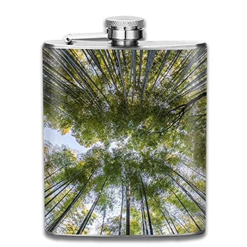 Presock Flachmann Great Bamboo Forest Fashion Portable 304 Stainless Steel Leak-Proof Alcohol Whiskey Liquor Wine 7OZ Pot Hip Flask Travel Camping Flagon for Man Woman Flask Great Little Gift