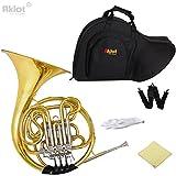 Aklot Professional Bb / F 4 clés Double Cor d\'harmonie Cors Français Cupronickel Tuning Pipe Or avec étui pour musique Play et orchestre
