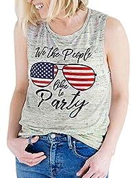 LILICAT® Chalecos con Estampado de Bandera Americana de Mujer, Blusa Tops con Cuello V