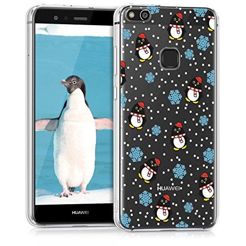 kwmobile Hülle für Huawei P10 Lite - TPU Silikon Backcover Case Handy Schutzhülle - Cover klar Pinguin Winter Design Schwarz Hellblau Transparent