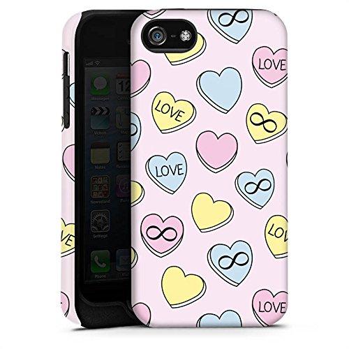 Apple iPhone X Silikon Hülle Case Schutzhülle Love Herzen Bunt Tough Case matt