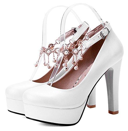 Aisun Damen Elegant Einfarbig Künstliche Perlen Troddel Trichterabsatz Pumps Mit Plateau Weiß