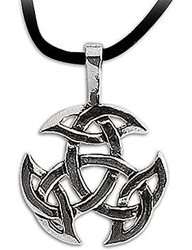 Anhänger Keltischer Knoten 925er Silber Amulett Schmuck Schutzamulett Dreifalt mit Lederhalsband Schmucksäckchen...