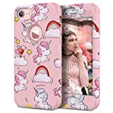 iPhone 7 Case, WE LOVE CASE Shockproof Hybrid 3in1 360 Hard Back iPhone 7 Case Protective Pattern Shock Proof Heavy Duty Silicone Bumper Defender iPhone 7 Case Unicorn
