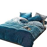 YMXJLXH Bettwäsche-Set aus Baumwolle, Bestickt, für Vier Herbst- und Winter-Garnituren, Koralle