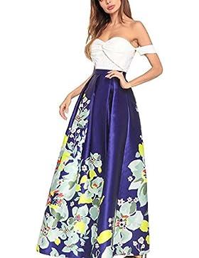 Vestido de satén de color sólido de costura de la nueva primavera y el verano de las mujeres 2018 de la tarde...