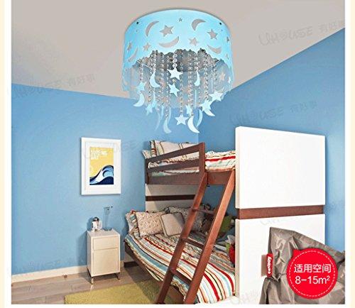 Blauer Mond und die Sterne der Kinder im Zimmer Kristall Decke Jungen und Mädchen Schlafzimmer Kronleuchter Beleuchtung leben LED-Lampen