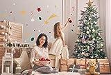 125 Sterne Weihnachts-Set Wandtattoo - Wandsticker Set - zum Kleben, Weihnachten, xmas, Wandaufkleber Sticker Wanddeko - Wandfolie, Dekoration, Christmas Deko, Weihnachtsaufkleber