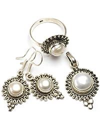 """stargems (TM) Natural Río perla Conjunto de joyería de plata de ley 925diseño único colgante 11/4""""; Anillo 6; Pendientes 11/2"""""""
