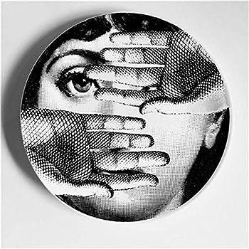 XXPF Piatto decorativo Fornasetti Piatto sospeso americano Arte ceramica europea Piatto da salotto nordico decorazione da parete piatto da pranzo 8 pollici
