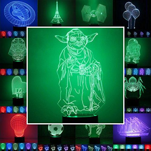 3D Lampe 3D Leuchte 3D LED Stimmungslicht. 7 verschiedene Farben wählbar - Auswahl aus 81 verschiedenen Motiven, hier Yoda ca.25x12cm inkl.Sockel - 3D Illusion Dekolicht mit USB Anschluß und 220V USB Netzteil