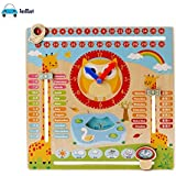 FunBlast Wooden Calendar Clock Learning Toys For Kids, Educational Learning Toys For Kids