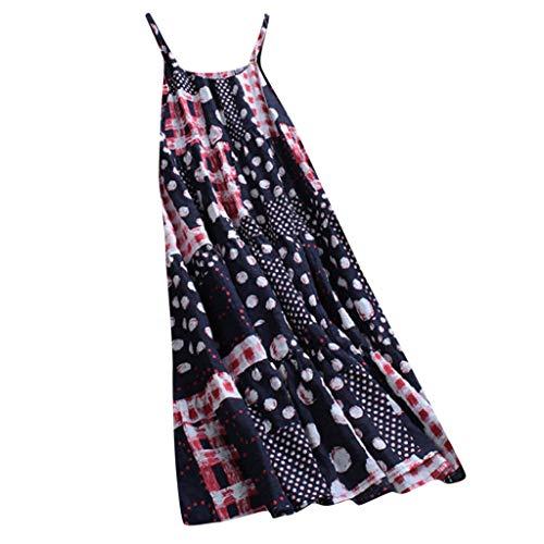WawerPlus Size Frauen Vintage Dot Print O Neck ärmellose Sommer Casual Baumwolle und Leinen Maxi-Kleid, Evening Dress Beach Dress Party Dress Beach
