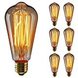 KINGSO 6 pack E27 Ampoule Edison à Incandescence Vintage ST64 60W 220V Lampe Tungstène Décorative Ampoule Filament Classique Antique Dimmable Blanc Chaud...