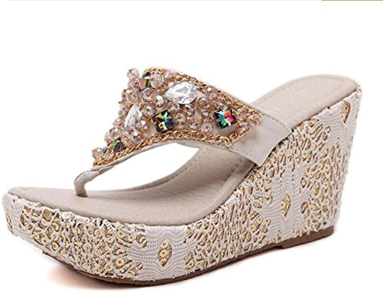SCLOTHS Verano Chanclas Para Mujeres Tacón Alto Diamante Artificial impermeable fina con Blanco 7 US/37.5 EU/4.5 UK 7 US/37.5 EU/4.5 UK|Blanco