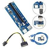 Mini PCI-E Express USB3.0 1x bis 16x Extender Riser Kart Adapter Für Bergbau Mit SATA 15Pin-6Pin Stecker-Netzanschluss (blau)