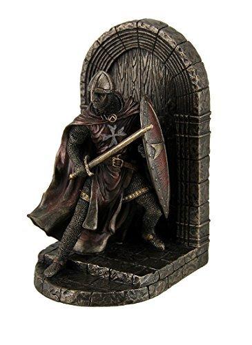 Malteser Crusader Statue in Armor bewacht Tür Holding Schild & Schwert Buchstütze