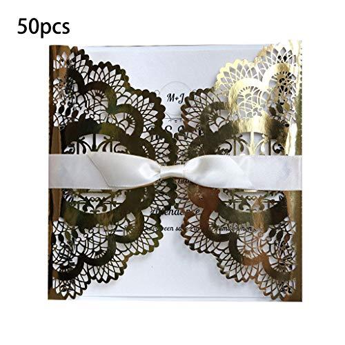Kanitry 50pcs Grusskarten Set, Hochzeitseinladungskarte mit Band Cut Floral Glittering Engagement Taufe Einladungen Geburtstag Grußkarte (2)