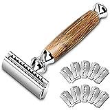 Rasierhobel, UBRU Nassrasierer Herren Safety Razor mit 10 Rasierklingen Rasierhobel set für Männer und Frauen Langem Bambus Griff (braun)