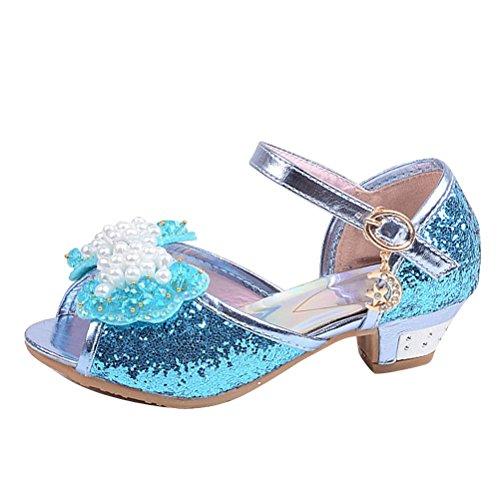 Brinny Prinzessin Schuhe mit Absatz Mädchen Kostüm Ballerina Schuhe - Schleife und Pailletten Karneval Festlich für Kinder Blau / Pink 12 Größe: 26-37 Blau