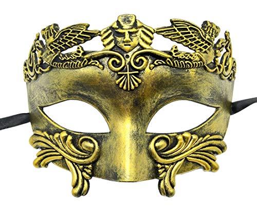 Coolwife Mens Maskerade Maske griechischen römischen Party Maske Mardi Gras Halloween Maske (Antikes Gold)