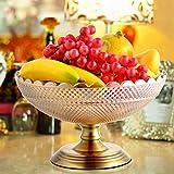 BAIF Cristal Cristal Fruta Plato Aleación Inferior Decorativo Mesa de Almacenamiento Mesa de Centro Adornos Candy Plate