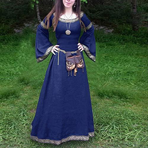 Damen Kleider Elegant Manadlian Frauen Langarm V-Ausschnitt Mittelalterlich Kleid Bodenlang Große Größen Solide Vintage Renaissance Lange Ärmel Bandage Party Kleid