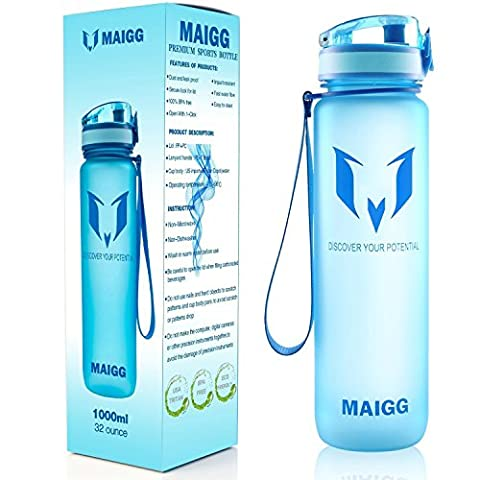 MAIGG Best Sports Water Bottle - 17oz - Eco Friendly & BPA-Free Plastic - For Running, Gym, Yoga, Outdoors and Camping - Fast Water Flow, Flip Top, Opens With 1-Click - Reusable with Leak-proof Lid (Blue, 500ml-17oz)