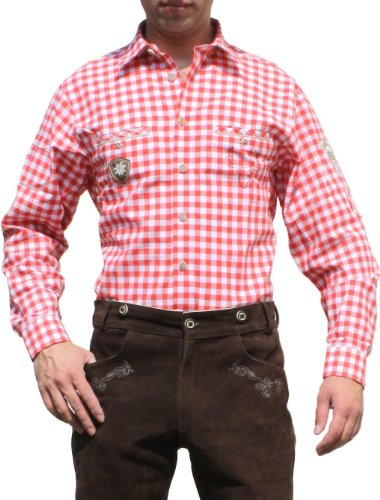 Trachtenhemd hemd für Trachten Lederhosen mit Verzierung rot/kariert, Hemdgröße:S