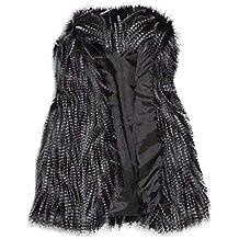 Yvelands Chaleco de Lana de Mujer Chaleco de Piel sintética Collar de pie Chaleco de Abrigo