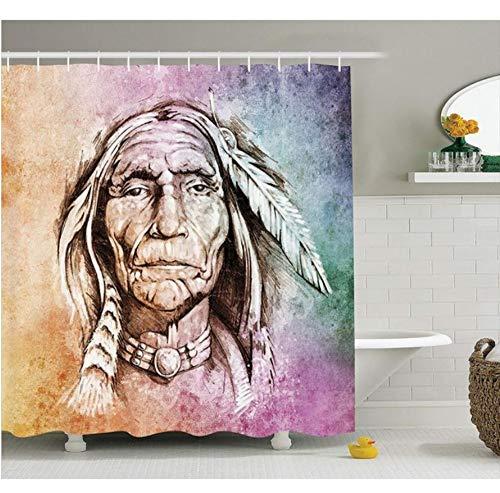 Yiciyici Ureinwohner-Duschvorhang-Porträt des Stammes- Leiters Mit Ethnischem Federband-Aquarell-Art-Bild-Gewebe-Badezimmer-Dekor-150(H) X180(W)