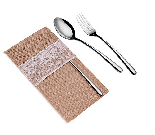 ODN 5x Hessian Burlap Chic Lace Cutlery Holder Pouch Table Wedding Decor Favors Vintage Rustic
