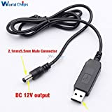 #1: USB DC 5V to DC 12V Step up Cable Module Converter 2.1x5.5mm Male Connector