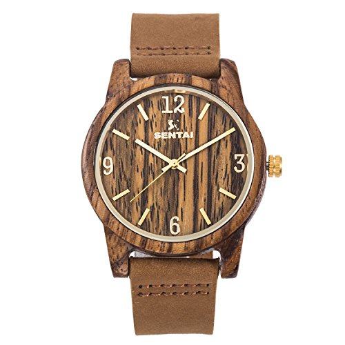 Natural Wooden Watch Sentai Handmade Quartz Watch Zebra Wood Watch Genuine Leather Strap Men's Women's Wrist Watch with Large Clear face Numerals Brown