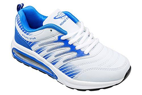 Gibra ® baskets, très léger et confortable-blanc/bleu-taille 36 Blanc - Weiß/Blau