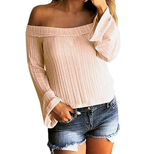 Khaki Stripe Shirt (Frauen Langarm Strickpullover Schulterfrei Langer Mantel Jacke Lässige Pullover Tops Mode T-Shirt Shirt Bluse Damen Sweatshirt Vintage Oberteile V-Ausschnitt Freizeit Weste Hemden (M, Khaki))