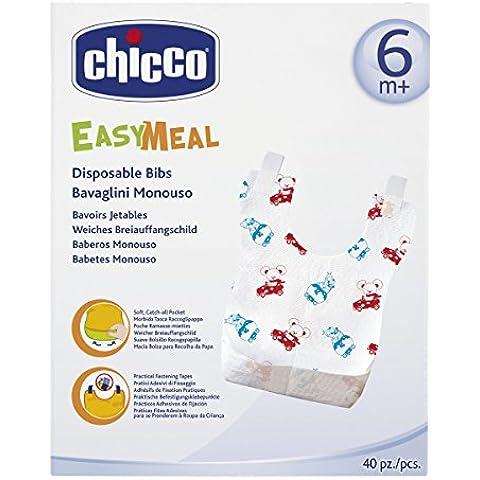 Chicco 00067440010000 - Confezione 40 bavaglini monouso, 6+ mesi - Monouso Tovagliette Bambini