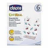 Chicco Einweg-Lätzchen, Easy Meal, 6+ Monate, mit Auffangschale und Klebestreifen, aus beschichtetem Papier, 40 Stück