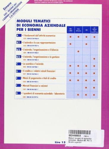 Moduli tematici di economia aziendale. Modulo B3. Per le Scuole superiori