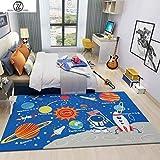 TWGDH Spielmatte für Babybett, Krabbelunterlage, für den Innenbereich, Planeten-Design, Rutschfest, maschinenwaschbar, 160 x 230 cm